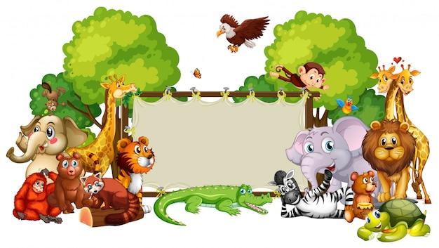 Шаблон границы с милыми животными