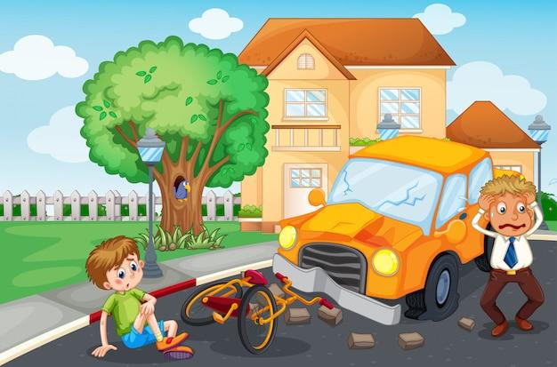 道路での事故のシーン