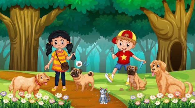 木のシーンで犬と子供
