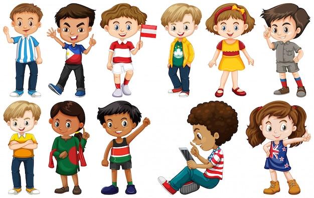 さまざまな国からの子供のセット
