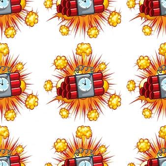 Бесшовный дизайн фона с бомбами замедленного действия