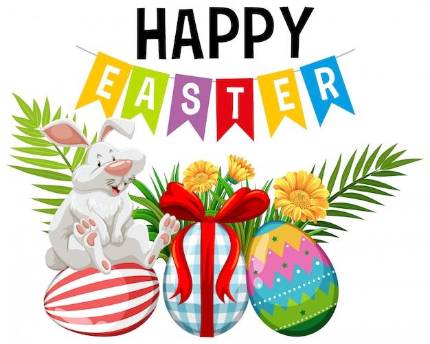 Постер на пасху с пасхальным кроликом и украшенными яйцами