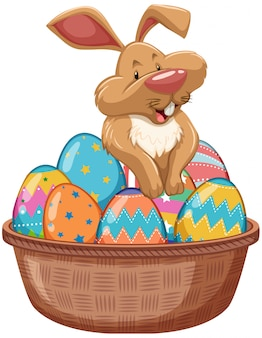 Постер на пасху с пасхальным кроликом и крашеными яйцами в корзине