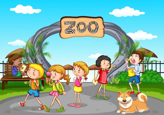 多くの子供たちが動物園で楽しんでいるシーン
