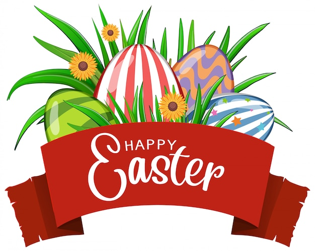 Постер на пасху с украшенными яйцами и цветами