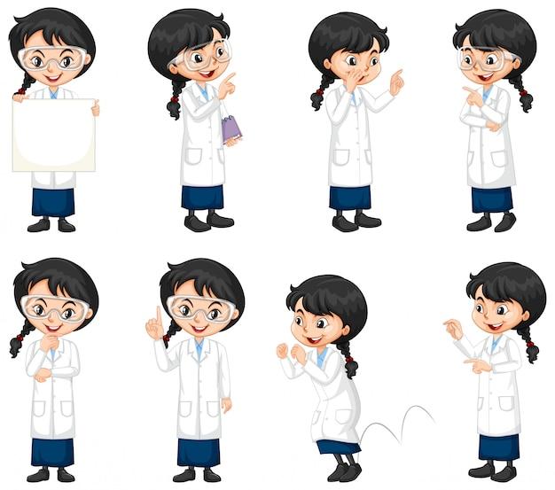 さまざまなポーズをしている科学の学生のセット