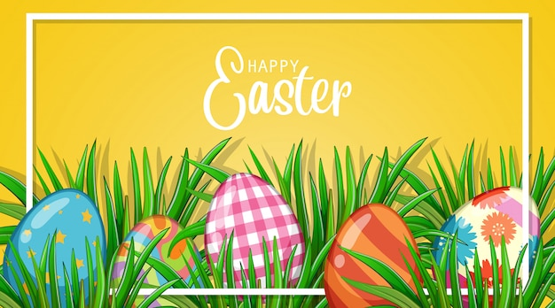 Постер на пасху с крашеными яйцами в саду