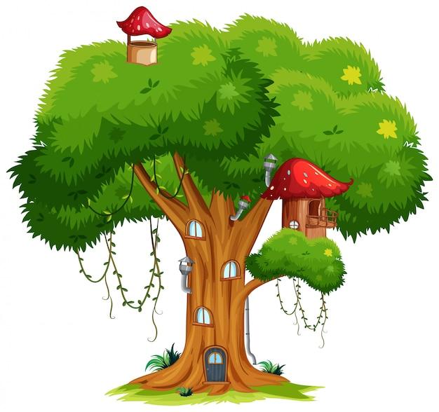 Домик на дереве с грибами и дверями