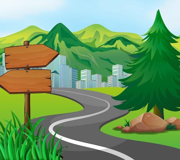 街への道のある風景