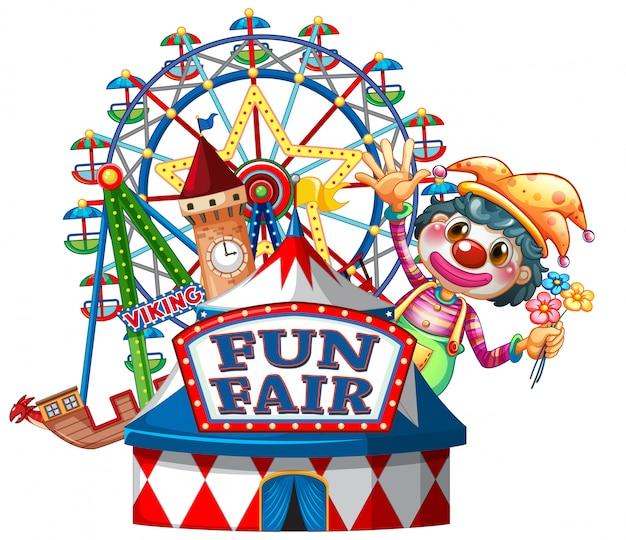 Веселая ярмарка знак шаблон с счастливым клоуном