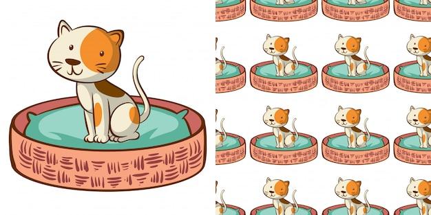 Дизайн с бесшовный узор милый кот в корзине
