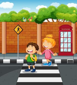 Двое детей пересекают улицу иллюстрации