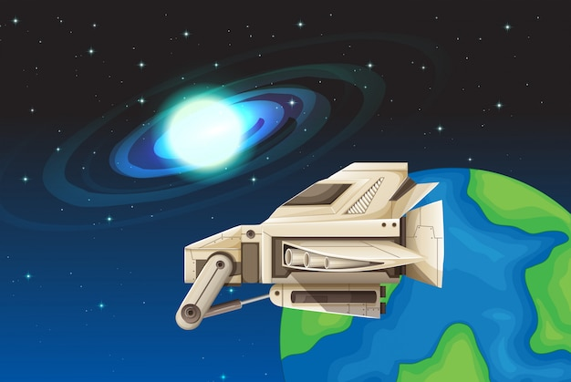 Космический корабль, плавающий в пространстве иллюстрации