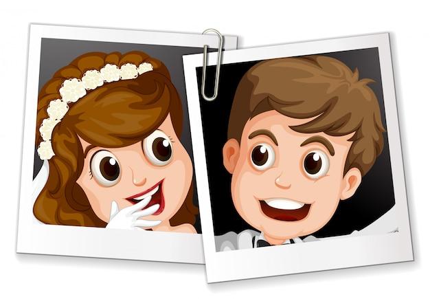 クリップ付きの結婚式の写真
