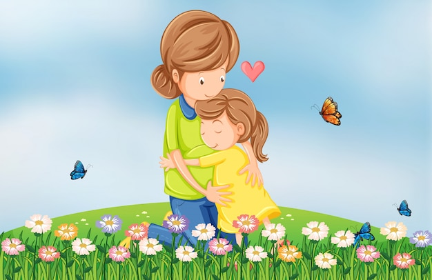 母親が子供を慰める丘の上