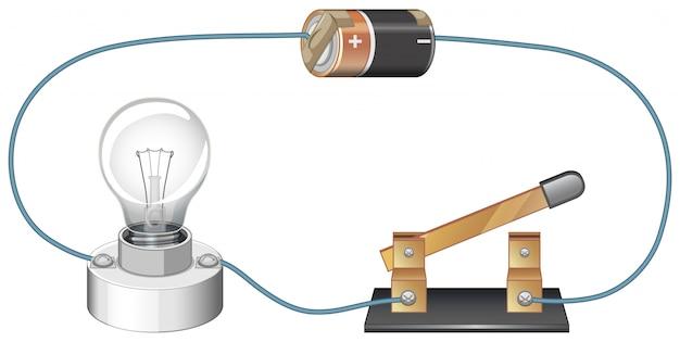 Схема, показывающая электрическую цепь с аккумулятором и лампочкой