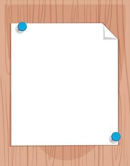 Белая бумага на деревянной доске