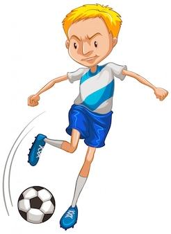 Спортсмен играет в футбол на белом