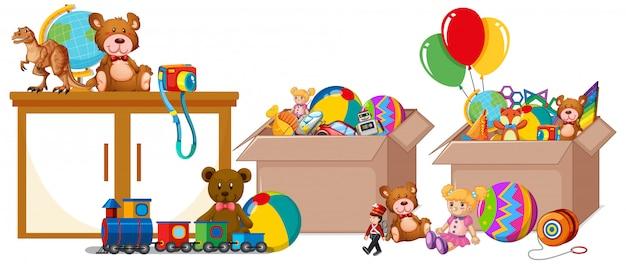 Полка с книгами и игрушками на белом