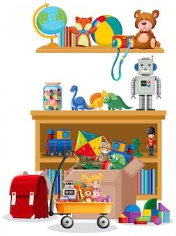 棚とボックスに白のおもちゃ