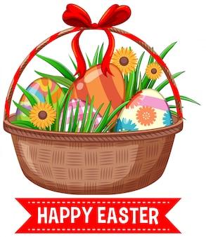 Пасхальная открытка с крашеными яйцами в корзине