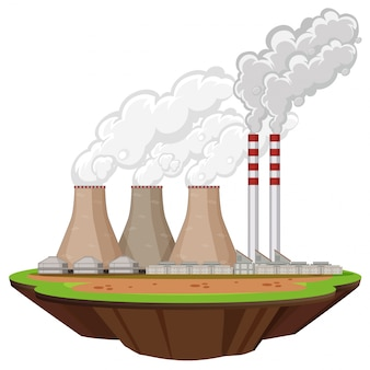 Сцена с фабричными зданиями, производящими дым