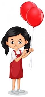 Одна счастливая девушка с красными воздушными шарами