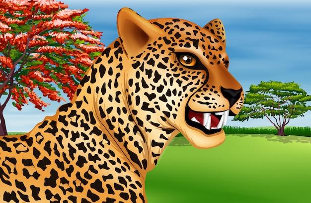 チーターの歯を見せて