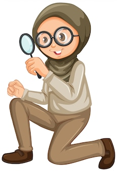 Мусульманская девушка с увеличительным стеклом на белом