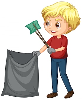 Мальчик собирает мусор на белом