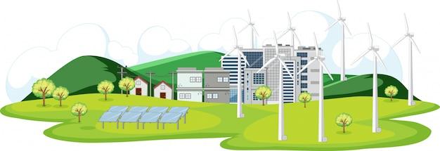 市内のタービンと太陽電池のあるシーン