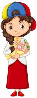 Девушка с красивыми цветами на изолированных