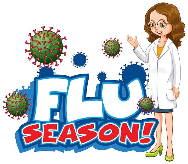 Дизайн шрифта для сезона слова гриппа с женщиной-врачом