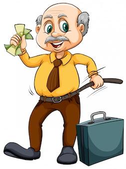 お金を持つ老人