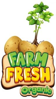 ジャガイモ植物と単語の新鮮な農場のフォントデザイン