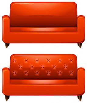 赤い革のソファ