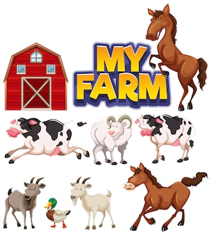 多くの動物と私の農場の単語のフォントデザイン
