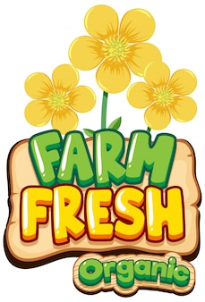 Дизайн шрифта для слова свежей фермы с желтыми цветами