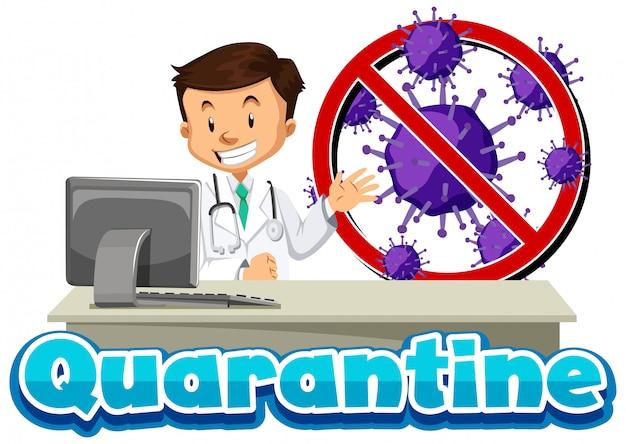 医師とウイルス細胞によるコロナウイルステーマのポスターデザイン
