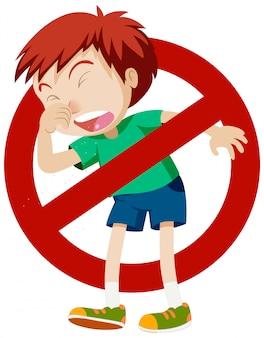 男の子の咳と一時停止の標識のコロナウイルスのテーマ