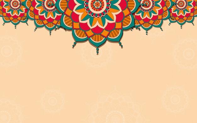 マンダラパターンデザインの背景テンプレート
