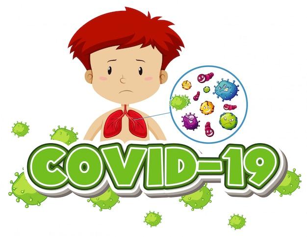 病気の男の子とコロナウイルステーマのポスターデザイン