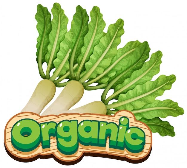 新鮮な野菜と有機の単語のフォントデザイン