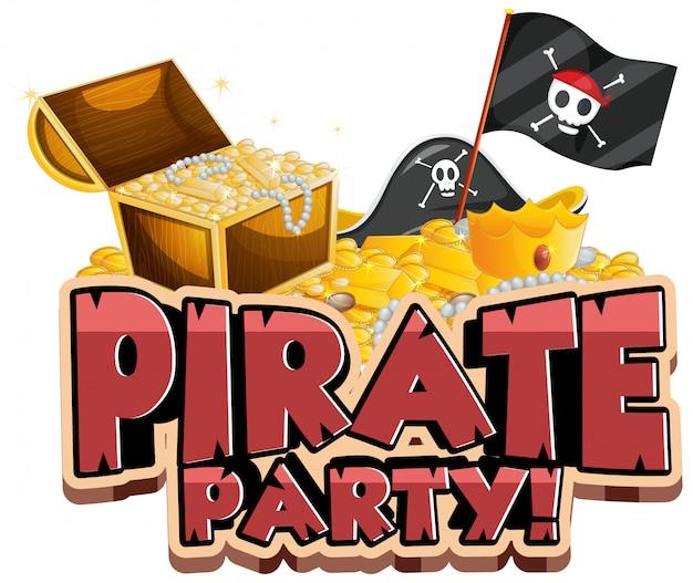Дизайн шрифта для слова пиратской вечеринки с флагом и золотом