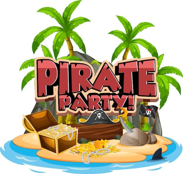Дизайн шрифта для слова пират с золотом на острове