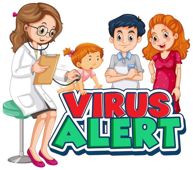 Дизайн шрифта для предупреждения о вирусе слова с доктором и больной девушкой