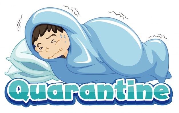 ベッドで病気の男の子とコロナウイルスのテーマのポスターデザイン