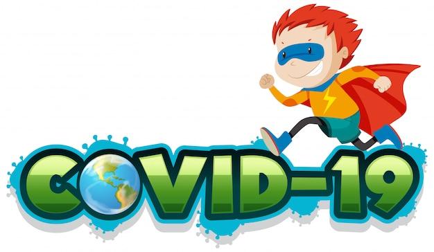 ヒーローコスチュームの少年とコロナウイルステーマのポスターデザイン