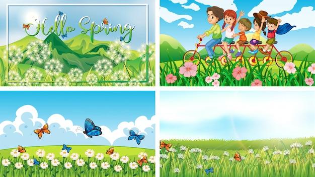 Четыре фоновые сцены с детьми и животными в парке