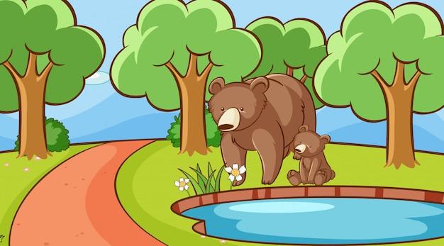 池のそばでクマとのシーン
